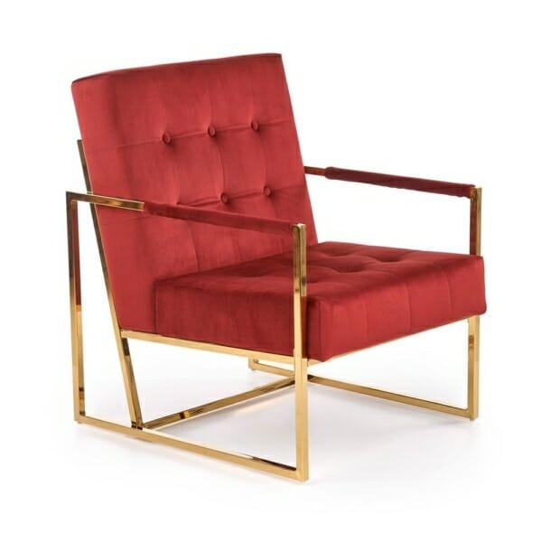 Кадифено кресло в бордо и тъмнозелено Прея