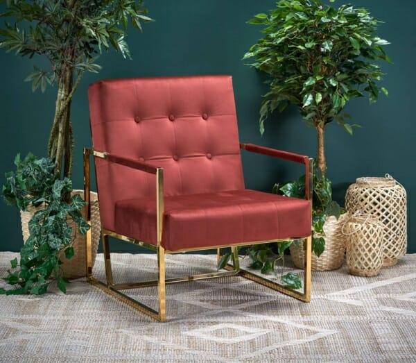 Кадифено кресло в бордо и тъмнозелено Прея - интериор