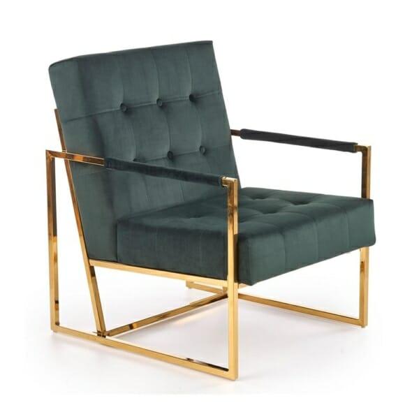 Кадифено кресло в бордо и тъмнозелено Прея - тъмнозелен