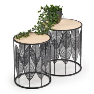 Комплект кръгли холни масички с флорални детайли