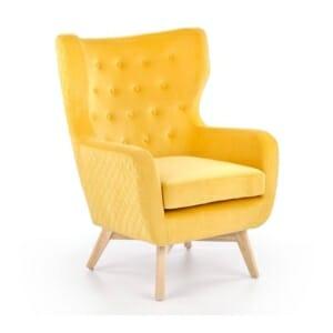 Кресло с кадифена дамаска и крака от дърво Марти (3 цвята)