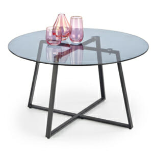 Кръгла холна маса с опушен стъклен плот Фуера