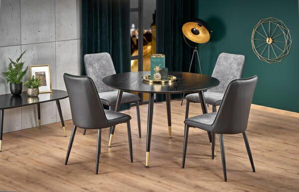 Кръгла трапезна маса в черно на крачета със златист акцент - сиви столове