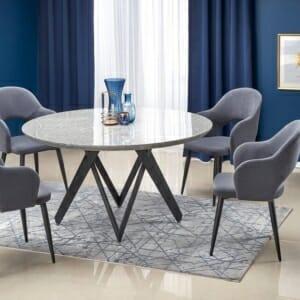 Кръгла маса с плот имитиращ мрамор Грета