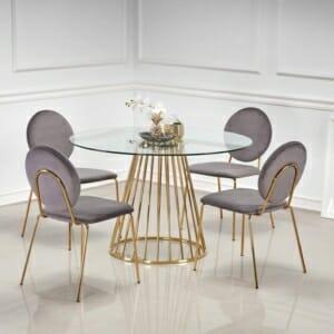Кръгла маса с плот от прозрачно стъкло Ливорно