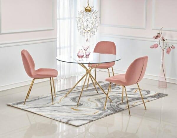 Кръгла маса с прозрачен стъклен плот и златисти крака Рим