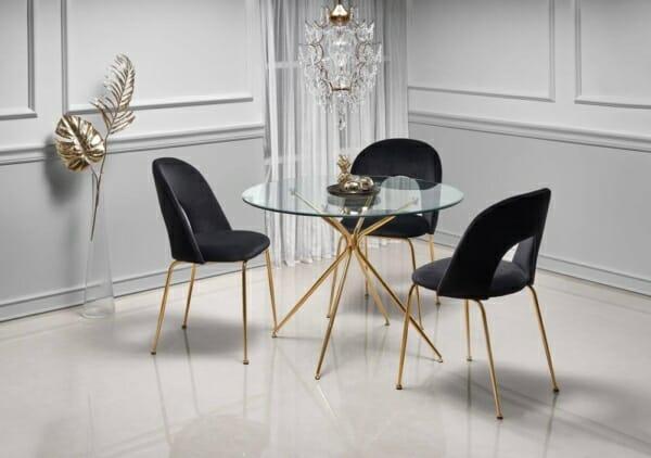 Кръгла маса с прозрачен стъклен плот и златисти крака Рим - интериор