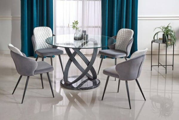 Кръгла трапезна маса от стъкло дърво и метал Опус