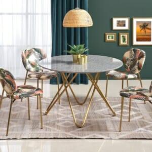 Кръгла трапезна маса в цвят сив мрамор Бони