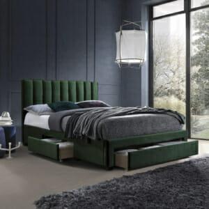 Легло с дамаска от кадифе и 3 чекмеджета Таула - зелен цвят