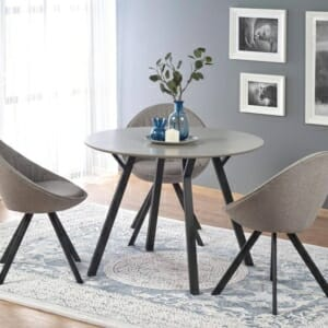 Малка кръгла маса с дървен плот и метални крака Бартина