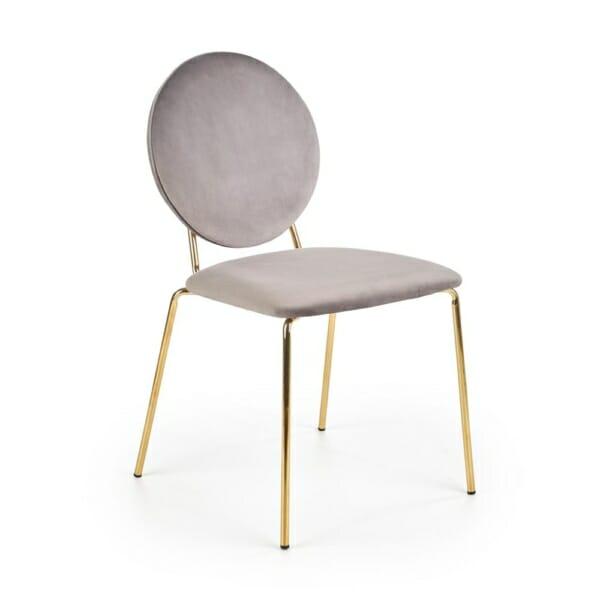 Модерен стол в сиво и златисто с кръгла облегалка