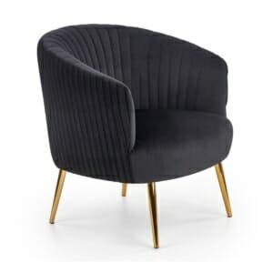 Модерно кресло със златисти крацхета и кадифена дамаска (3 цвята)