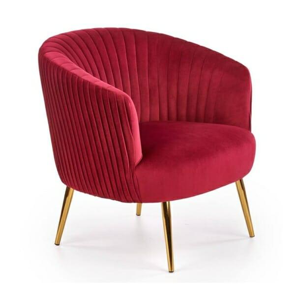 Модерно кресло със златисти крацхета и кадифена дамаска (3 цвята) - бордо