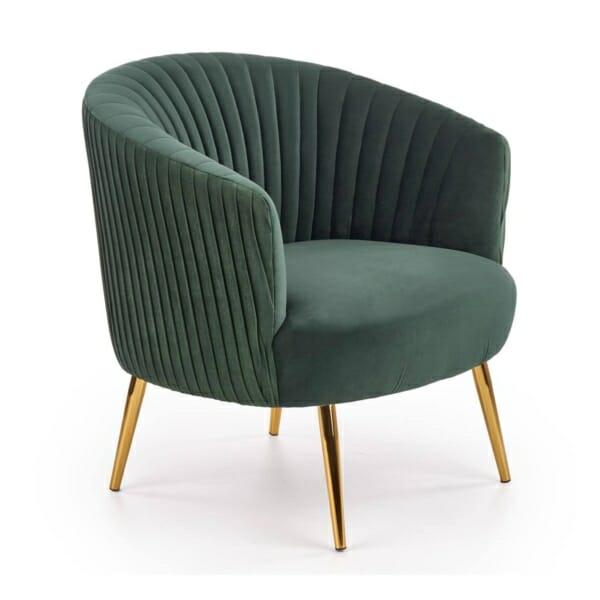 Модерно кресло със златисти крацхета и кадифена дамаска (3 цвята) - тъмнозелен