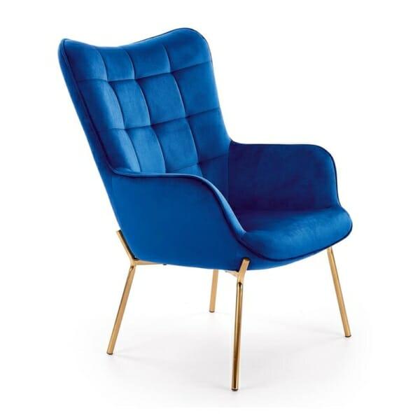 Модерно плюшено кресло в зелено със златисти крака (2 цвята) - тъмносин