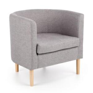 Ниско кресло със сива текстилна дамаска Орион
