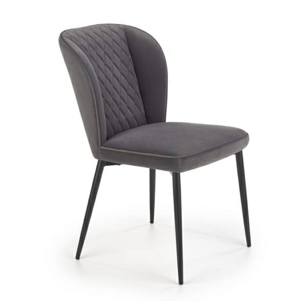 Плюшен трапезен стол с метални крака (3 цвята) - сив