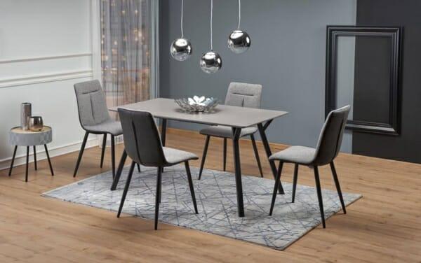 Правоъгълна маса със светлосив плот и черни крака Барти