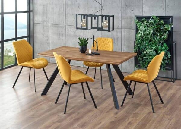 Правоъгълна маса за трапезария с дървен плот Еспидо