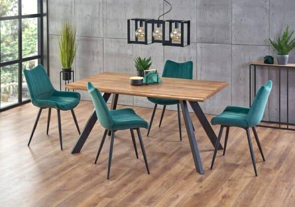 Правоъгълна маса за трапезария с дървен плот Еспидо - интериор