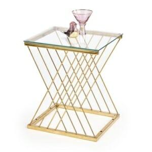 Правоъгълна помощна маса със стъклен плот Нейтън