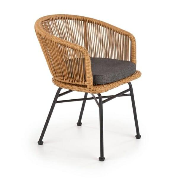 Ратанов стол с текстилна седалка и метални крака