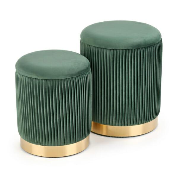 Сет плюшени табуретки с място за съхранение - тъмнозелен цвят