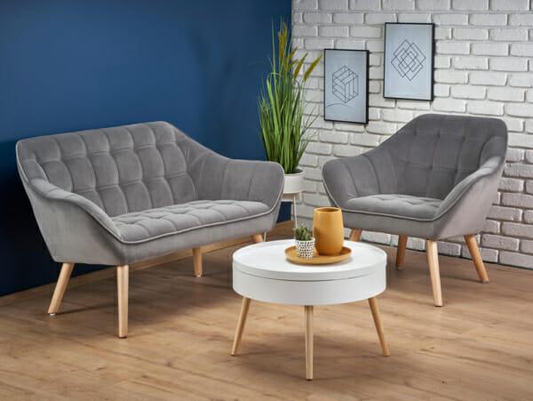 Сиво кресло или канапе с кадифена дамаска и дървени крачета