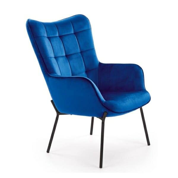 Сиво плюшено кресло с висока облегалка и подлакътници - тъмносин