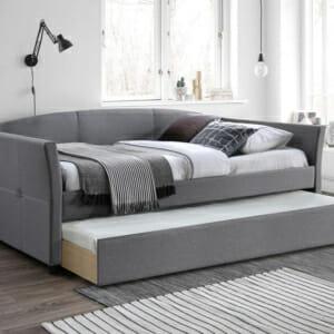 Сиво тапицирано легло с втори издърпващ се матрак Лорейн