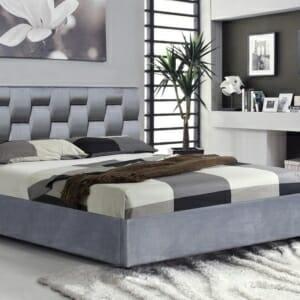 Сиво легло с кадифена дамаска и повдигащ механизъм