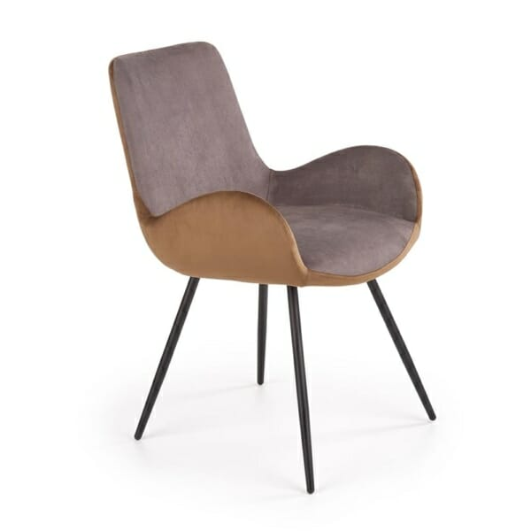 Стол с двуцветна текстилна дамаска и метални крака