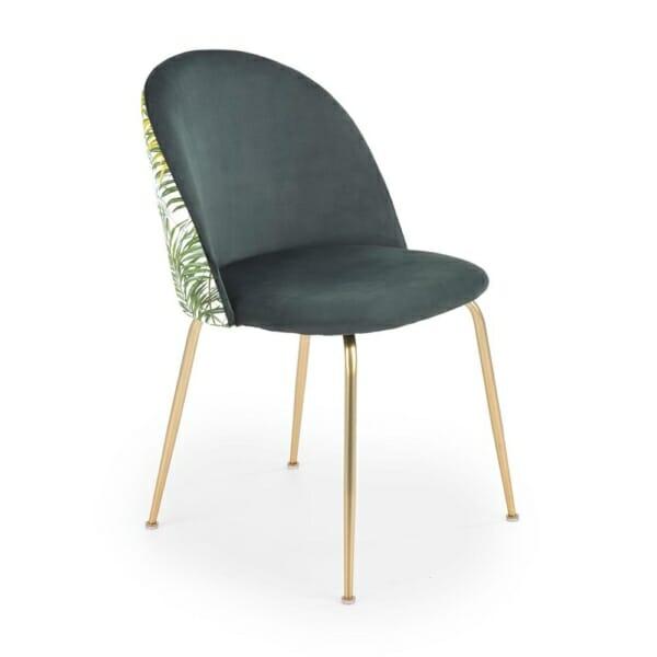 Стол с кадифена дамаска в тъмнозелено с тропически мотиви