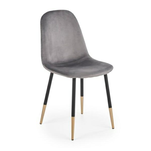 Стол с кадифена дамаска и крака в черно и златисто (2 цвята) - сив