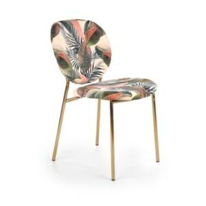 Стол с многоцветна дамска и метални крака в златисто