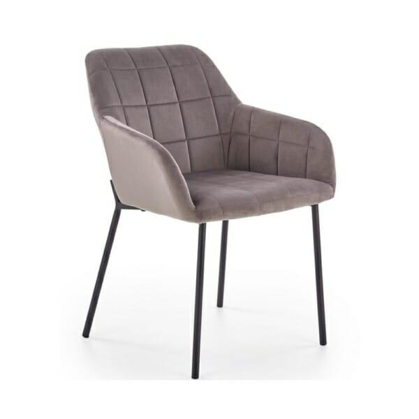 Стол с подлакътници и кадифена дамаска (3 цвята) - сив