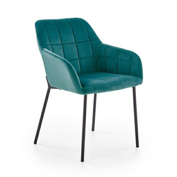 Стол с подлакътници и кадифена дамаска (3 цвята) - тъмнозелен