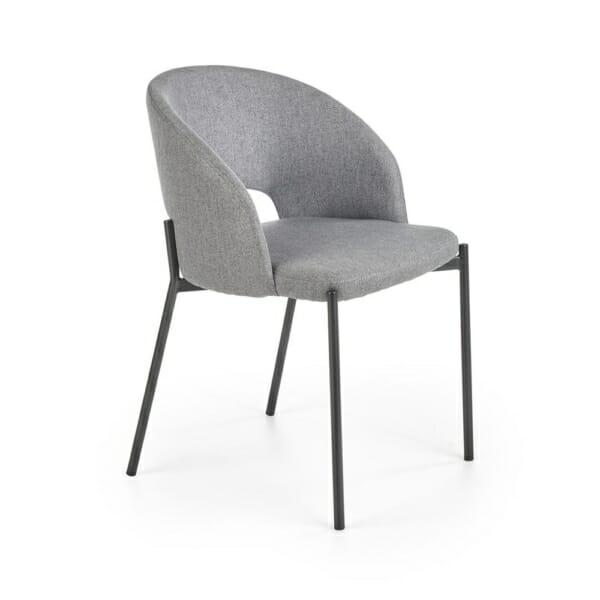 Стол с текстилна дамаска и метални крака (2 цвята)