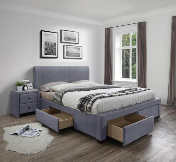 Тапицирано легло с 4 чекмеджета за съхранение Рона - сив цвят
