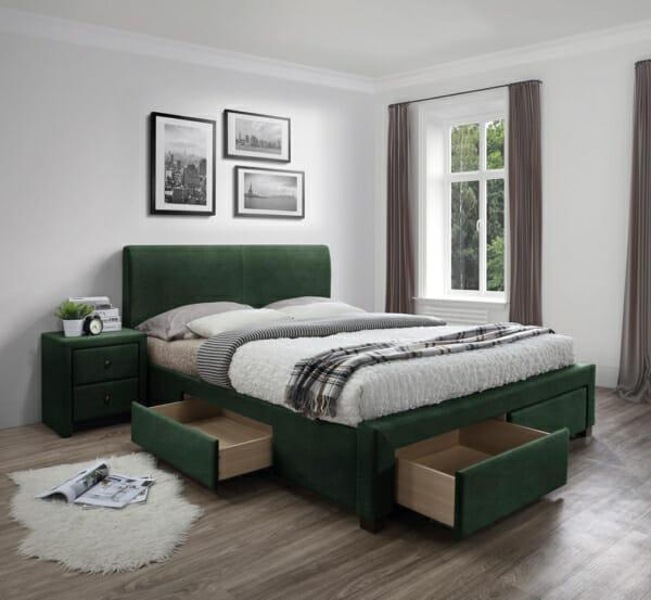 Тапицирано легло с 4 чекмеджета за съхранение Рона - зелен цвят