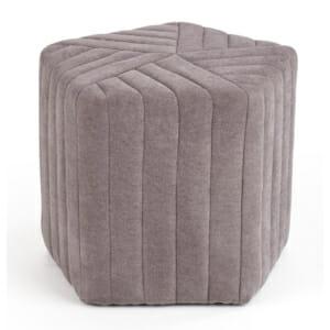Текстилна петоъгълна табуретка в модерен стил - сив цвят