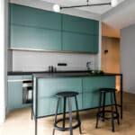 Кухня в зелени тонове и акценти в черно
