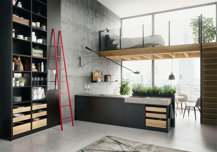 Отворен план с кухня в тъмен цвят