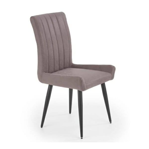 Трапезен стол от еко кожа и метал в тъмносиво и черно
