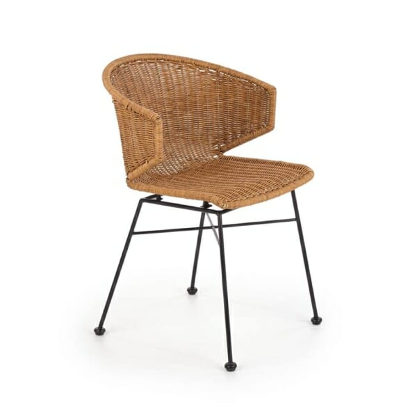 Трапезен стол от синтетичен ратан с метални крака