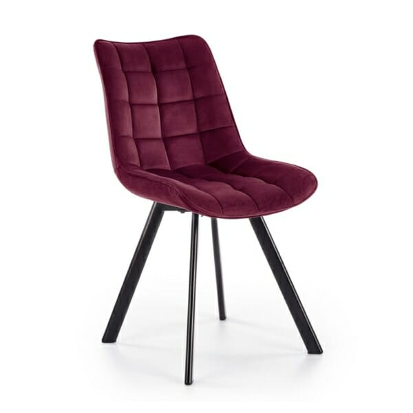 Трапезен стол с дамаска и метални крака (6 цвята) - бордо