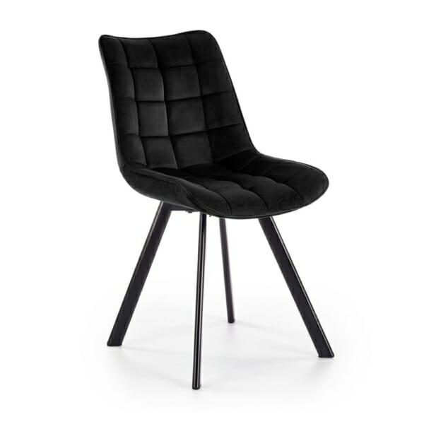 Трапезен стол с дамаска и метални крака (6 цвята) - черен