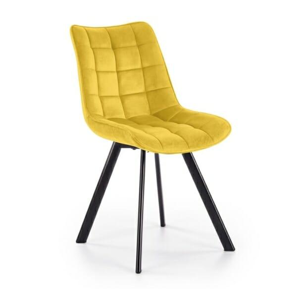Трапезен стол с дамаска и метални крака (6 цвята) - горчица