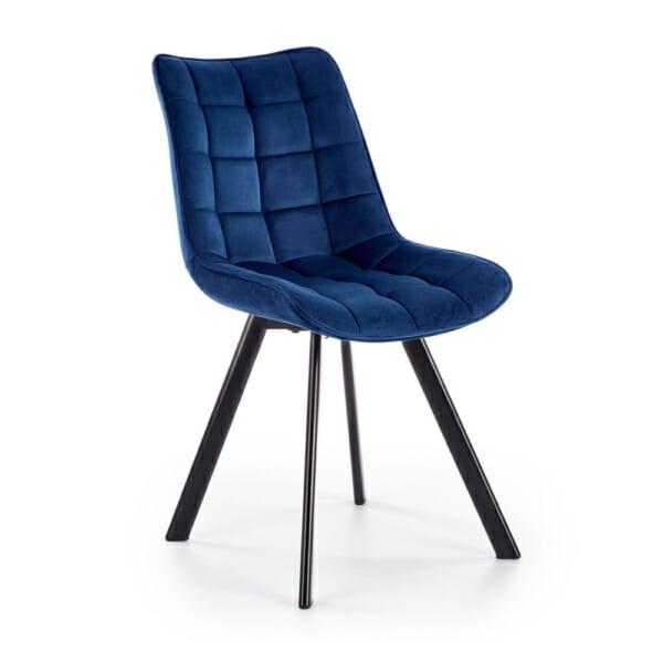Трапезен стол с дамаска и метални крака (6 цвята) - тъмносин